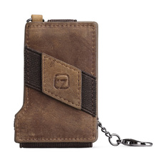 Man Crazy Horse Leather Multi Card Holder Dompet Rantai Kulit Asli Kasual Pengait Kartu Kredit Bag Brown Rfid Card Protector J20