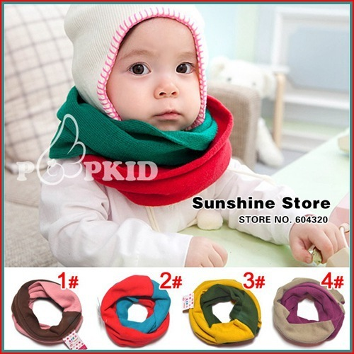 CONTRAST COLOR baby scarf winter,Color Blocking Neck Warmer,polaina infantil neck Gaiter,bufandas #2D2518  5 pcs/lot (4 colors)