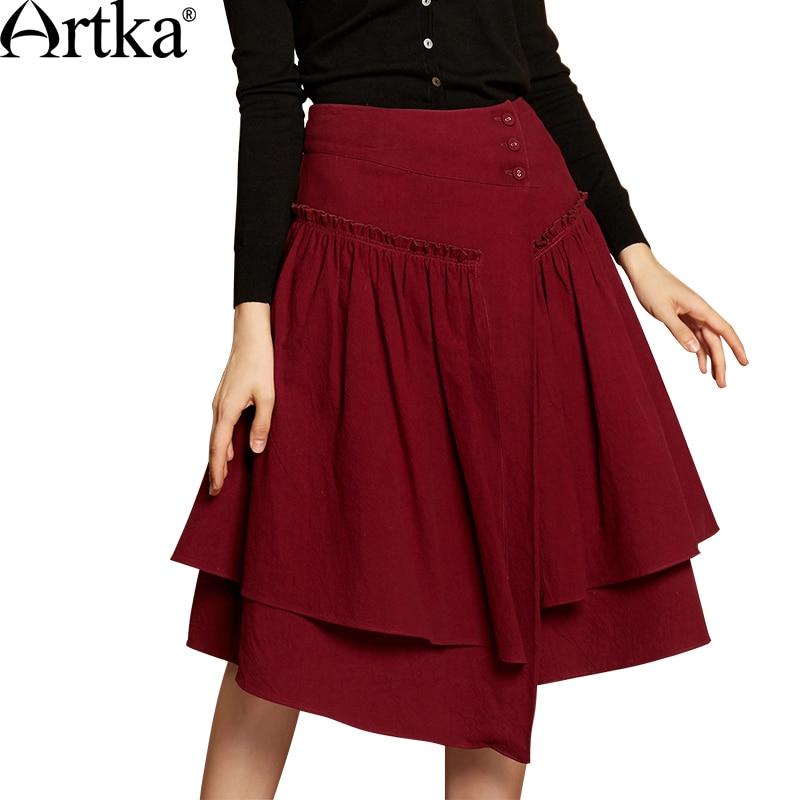 Artka Autumn Womens Skirt 2018 Asymmetrical A-Line Skirt Women Patchwork High Waist Skirt Female Red Vintage Skirt QA10173Q