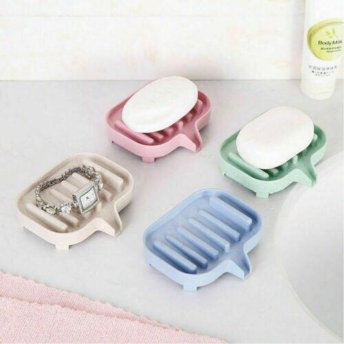 Bathroom Water Draining Soap Dish Case Holder Drainer Soap Saver Storage Box