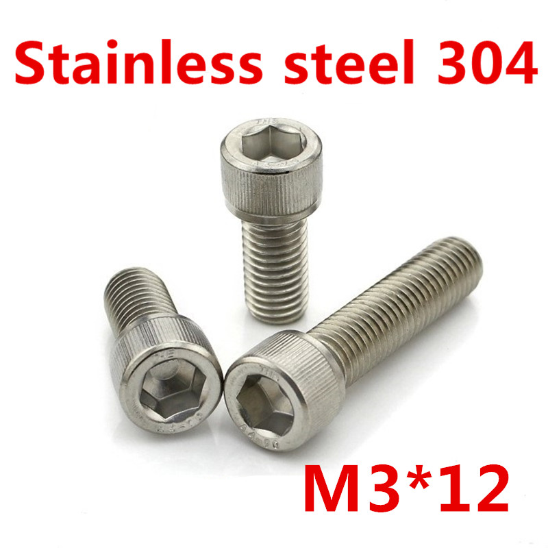 Free Shipping 100pcs/Lot Metric Thread DIN912 M3x12 mm M3*12 mm 304 Stainless Steel Hex Socket Head Cap Screw Bolts free shipping 100pcs lot metric thread din912 m4x12 mm m4 12 mm 304 stainless steel hex socket head cap screw bolts