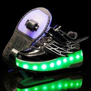 Image 4 - Детские кроссовки с колесиками, модная обувь для роликовых коньков, со светодиодной подсветкой, зарядка через USB, розовые, золотые