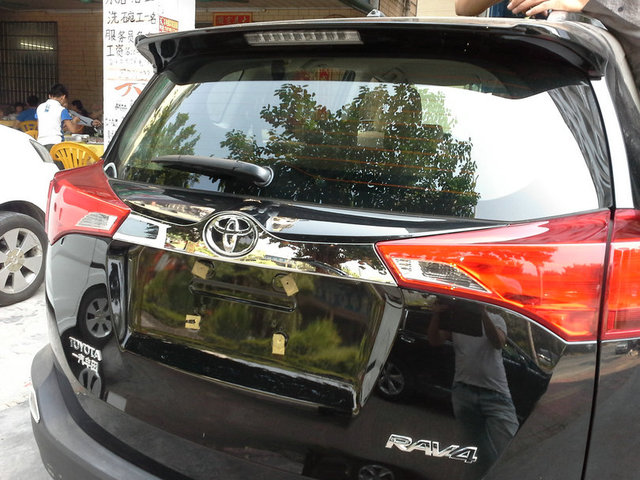 Auto rear  up  + down  trunk trim, tail door sticker for Toyota RAV4  2014-2015 abs chrome,auto accessories