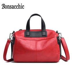 Bonsacchic Boston Сумка женская кожаная сумка Красная Женская сумка Роскошные сумки женские сумки дизайнерские женские сумки Bolsa Feminina