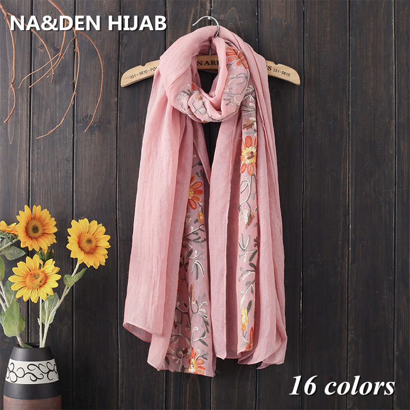 14 colors Fashion Scarf embroider flower design scarves shawl cotton viscose soft pashmina popular woman wrap brand Euro muffler