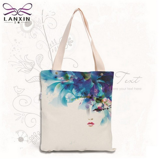 Sketch Floral Printed Canvas Tote Female Single Shopping Bags Large Capacity Women Canvas Beach Bags Casual Tote Feminina