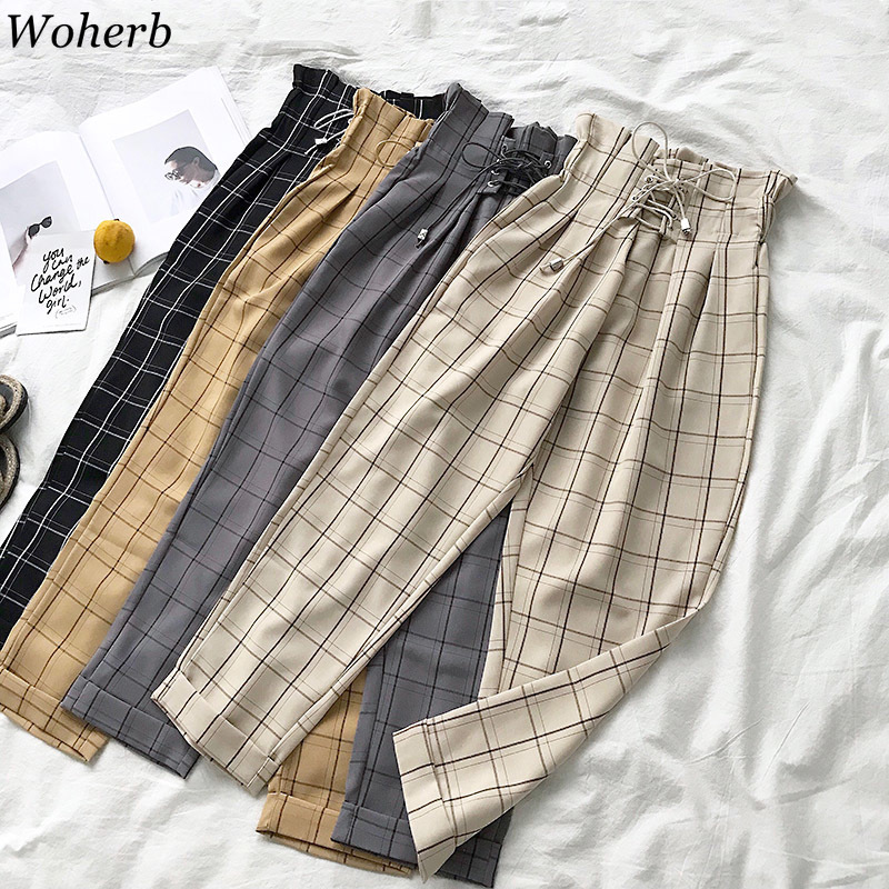 Woherb Japanese Harajuku Plaid Harem   Pants   Women 2019 Modis Bandage High Waist Trousers   Capri   Female Vintage Casual Pantalon