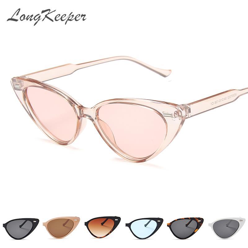 LongKeeper Gafas De Sol Mujer Cat Eye Sunglasses Woman Shades Female Rivet Triangle Sun Glasses Oculos Fashion Brand Designer
