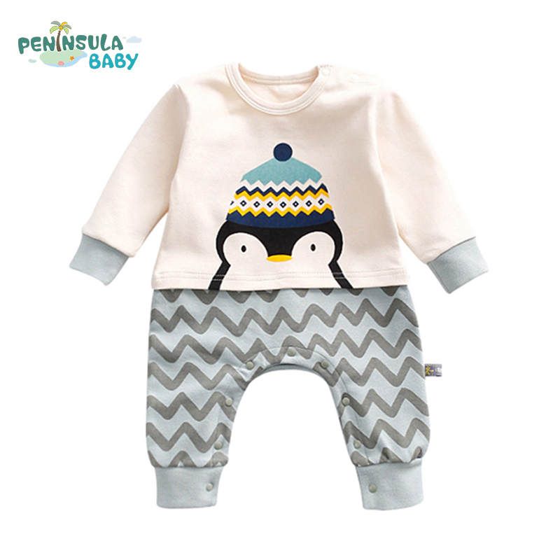 Cute Cartoon Rabbit Penguin Squirrel Newborn Baby Rompers Interesting Long Sleeve Infant Jumpsuit Character Girl Boy Clothes