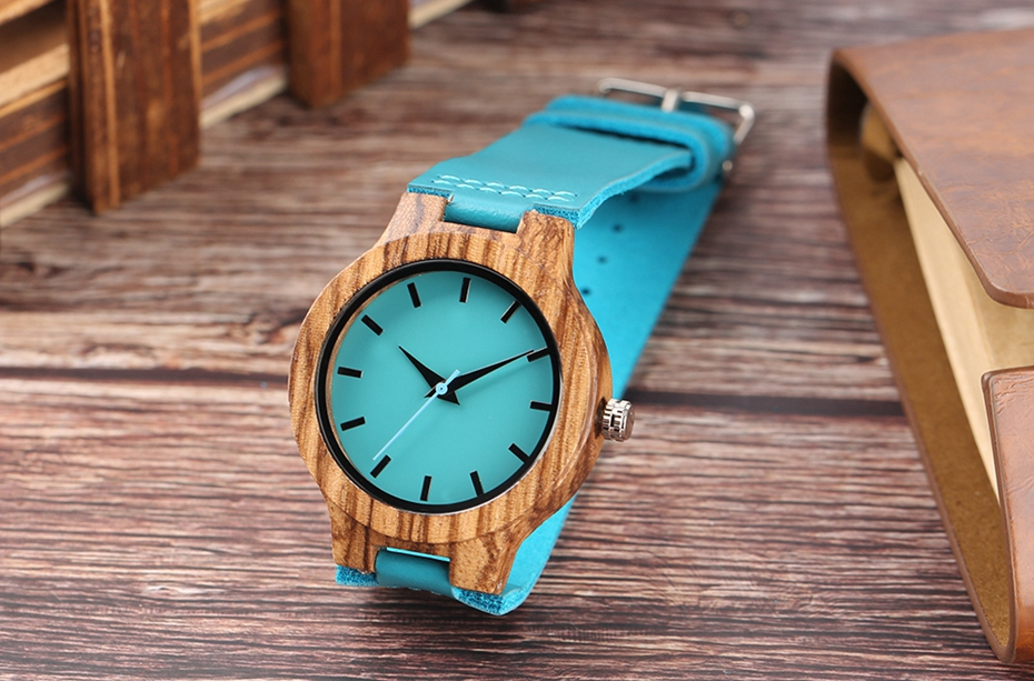 Fashion Blue Wooden Bamboo Quartz-watch Natural Wood Wristwatch Genuine Leather Creative Xmas Gift for Men Women Reloj de madera 2017 2018 (1)