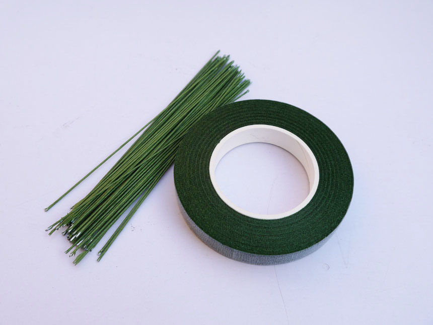 22# Flower rod wire 4 long 50piece and tape silk flower DIY material