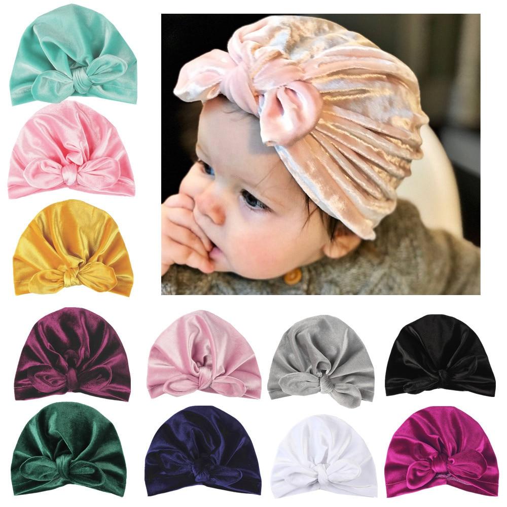 10pcs/lot Gold Velvet Baby Infant Turban Hat Toddler Ear Knot Newborn Beanie Top Knot Caps Headwear Birthday Gift Photo Props