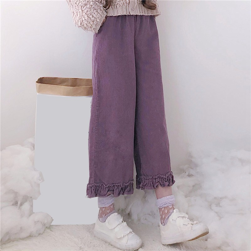 Mferlier Corduroy   Wide     Leg     Pants   Mori Girl Solid Elastic Waist Pockets Ruffles Hem Female Purple Khaki Winter   Pants