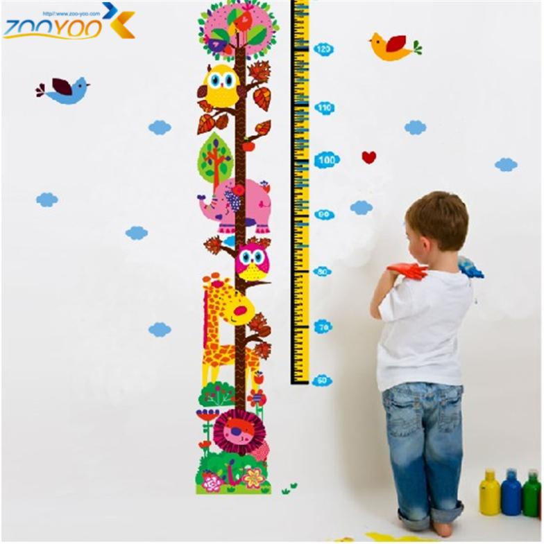 Giraffe growth chart wall stickers for kids room home decorations