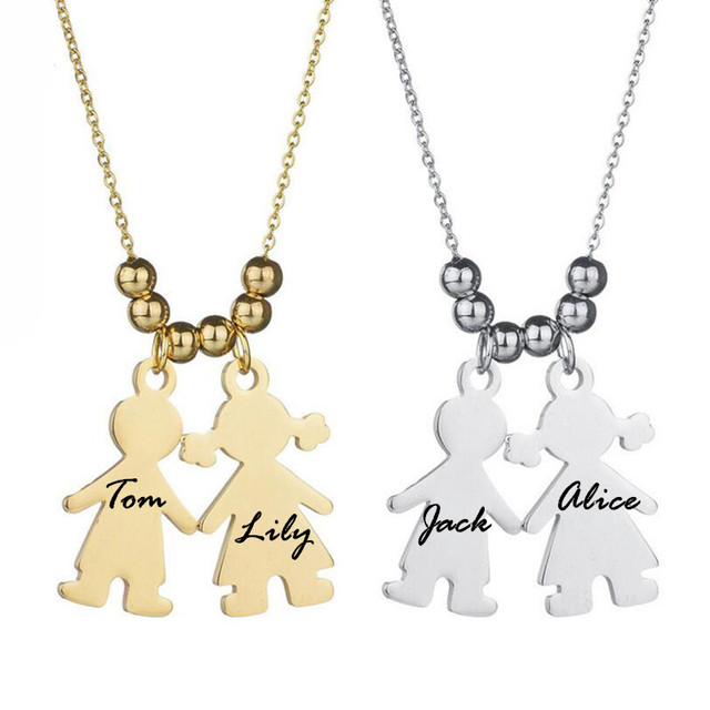 Personalized name engraved baby girl boy necklace pendant gift for personalized name engraved baby girl boy necklace pendant gift for mom auntcustomized stainless steel negle Image collections