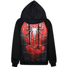 Harajuku 3D Print Super Hero Spider Man Sweatshirts Fashion Long sleeve with hat men Women Hoodies Cartoon Hoody Hooded Pullover