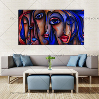 100% Hand paint Abstract Faces Girls Sex Picture Oil Painting Modern Portrait Canvas Paintings Home Decor Handmade Women Picture