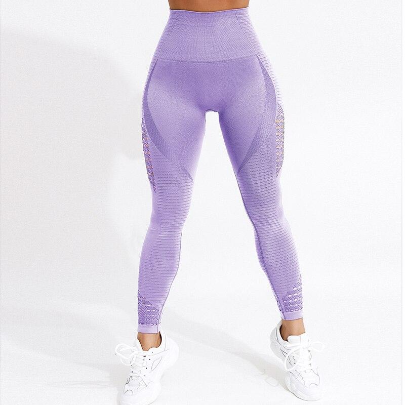 CHRLEISURE Women High Waist Push Up Leggings Hollow Fitness Leggins Workout Legging For Women Casual Jeggings 4Color 8