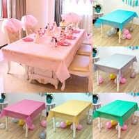 Fête 1PC anniversaire maison fournitures Rectangle bureau tissu jetable Table couverture nappe en plastique solide couleur mariage 137*183cm