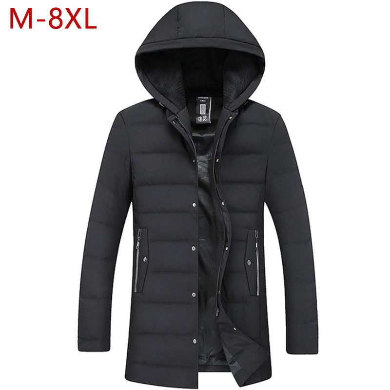 M-8XL Big Size Men Long Hooded Grey Down Jacket Autumn Winter Male Casual Thick Warm Windbreak Outwear Parkas Varsity Coat CF20