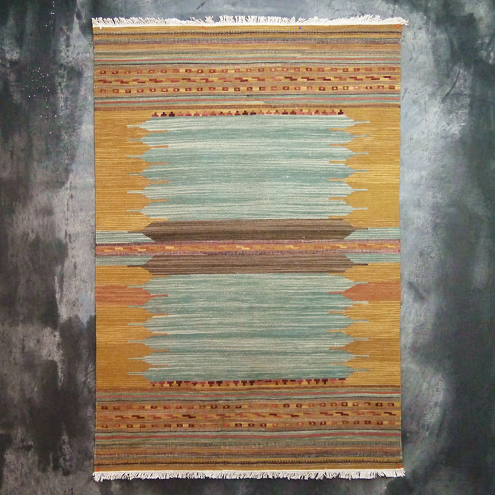 Essie Home 100 Wool Hand Woven Yellow Green Kilim Carpet