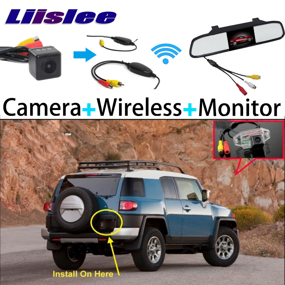 Liislee 3 in1 Special Rear View Camera + Wireless Receiver + Mirror Monitor Easy Back Up Parking System For TOYOTA FJ Cruiser liislee 3 in1 rear view special camera mirror monitor easy back up parking system for nissan nv200 evalia wireless receiver