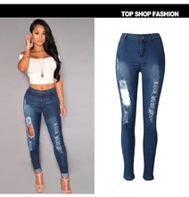 2018 г. Новые пикантные Для женщин эластичные Butt Lift Высокая талия Повседневное джинсовые рваные обтягивающие джинсы