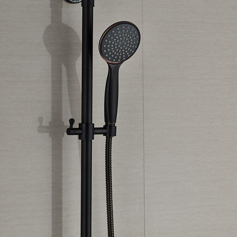 """Image 3 - Ванная комната черный душевой набор Настенный 8 """"смеситель для душа в форме дождя кран 3 функции смеситель клапан одна ручка круглая головка-in Смесители для душа from Товары для дома"""