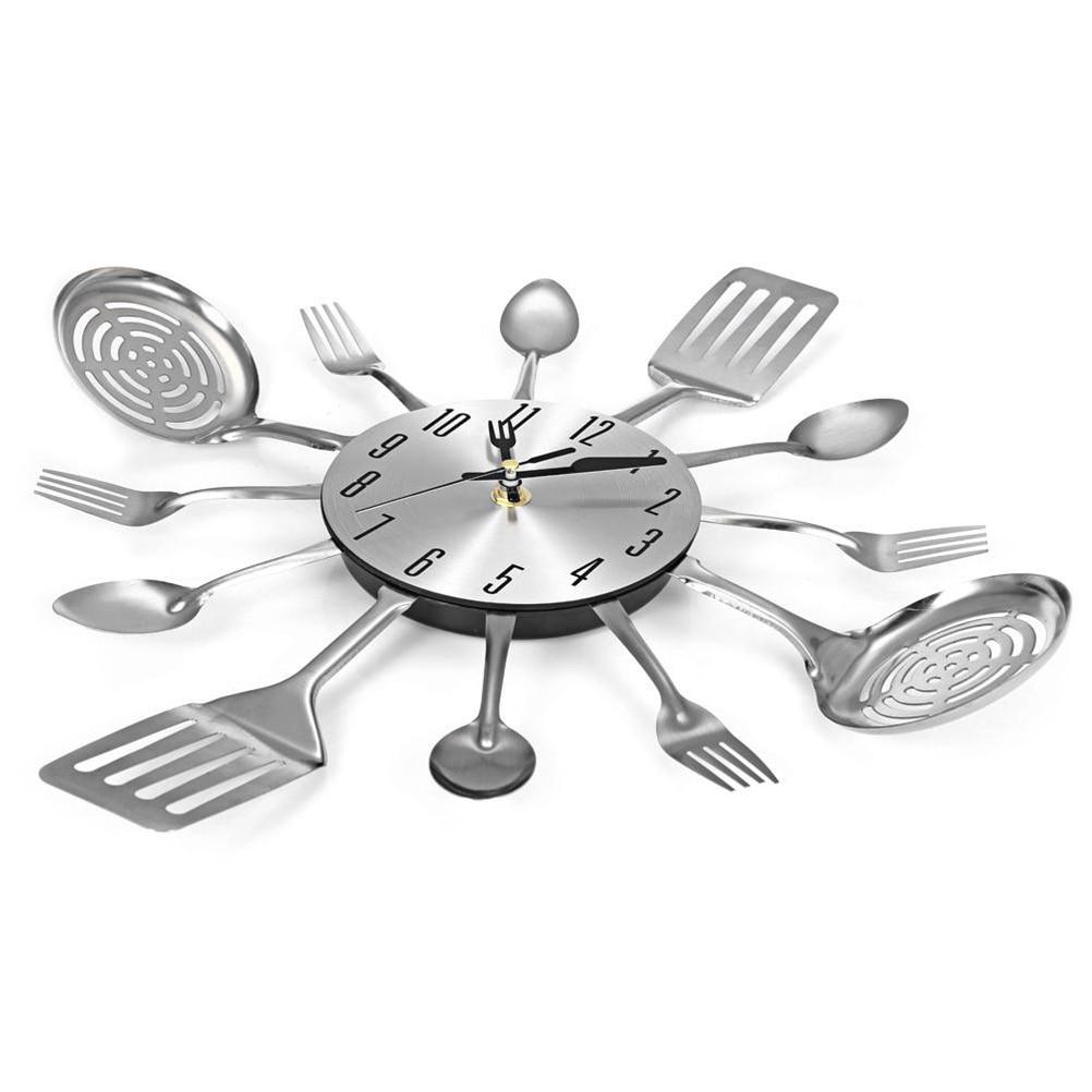 Acquista Posate Design Orologio Da Parete In Metallo Coltello Cucchiaio  Forchetta Orologi Da Cucina Creativo Moderno Arredamento Casa Stile Unico  ...