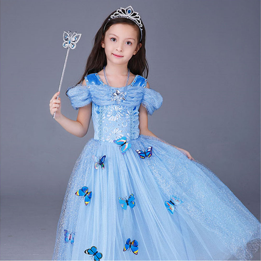 2017 Cinderella Dresses Girls Halloween Party Cosplay Belle Dress Kids Girl Butterfly Dresses Girl Gown White Princess Clothing muababy girls cinderella princess costume 4 colors kids belle halloween birthday pageant cosplay party dresses with 10 butterfly