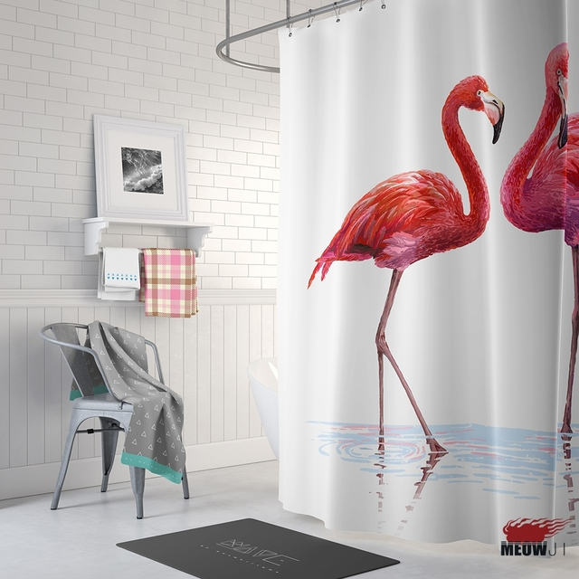 sporting pink flamingos shower curtain printed waterproof polyester fabric bathroom decor curtain with hooks free shipping - Pink Flamingo Bath Decor
