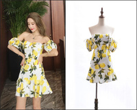 New 2019 of big shop sign For Love haute couture lemon printing sexy off the shoulder fishtail show thin waist dress