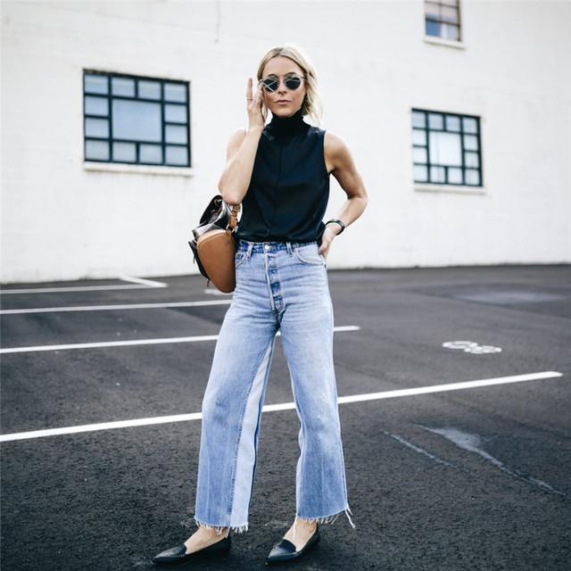 AEL Denim Women Wide Leg Pants 2019 Spring Fashion Splicing Clothing High Quality Patchwork Jeans Casual Slim Trousers Femme