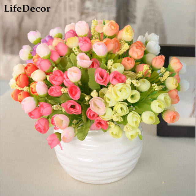 1pcs Artificial Flowers For Wedding Decorations Fake Silk Rose Flower Bouquet Home Decor Party Decoration 15