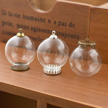 5set 30*15mm hollow glass globe with setting base beads cap set orb vials pendant bottle jewelry