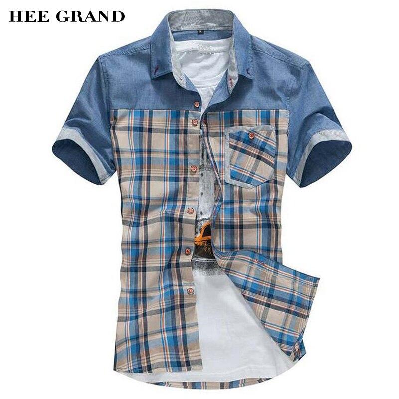 062e502dabaab Hee grand camicia maniche corte uomo 2017 nuovo arrivo di estate casuale  sottile plaid shirt slim si adatta di alta qualità chemise mcs560