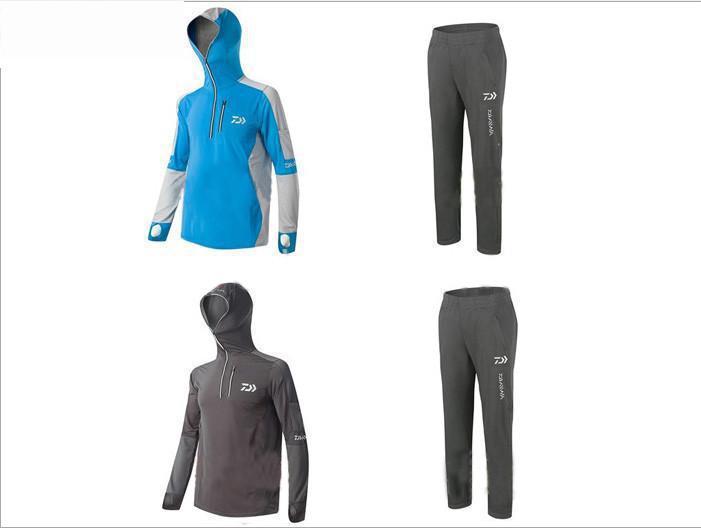 2017 Fishing <font><b>Clothing</b></font> Sets Men Breathable shirt UPF 50+ <font><b>UV</b></font> Protection Outdoor Sportswear Suit Summer Fishing Shirt Pants FS005