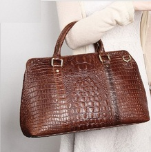 Womens Cow Leather Handbag Tote Bags 2018 Fashion Crocodile Grain Lady Genuine Big Business Dress Top-Handle Hand Bag