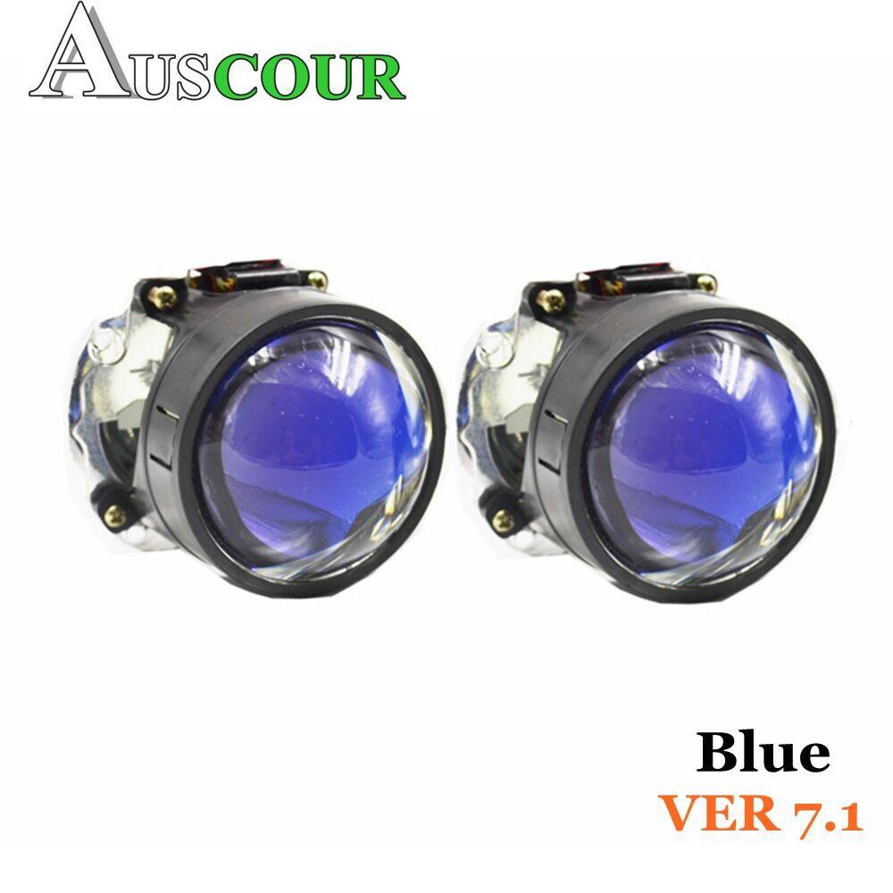 VER 7,1 Синий Покрытие би ксеноновые объектив проектора LHD дооснащения изменить Diy фары H1 H4 H7 Автомобиль Мотоцикл сборки комплект