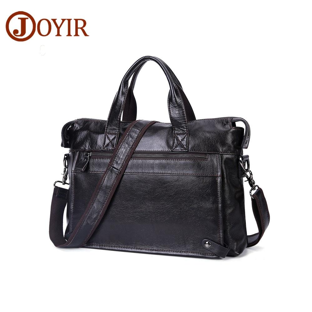 JOYIR Men's Briefcase Messenger Shoulder Crossboby Bag Genuine Leather Handbag Briefcase Leather Laptop Bag Office Bags For Men