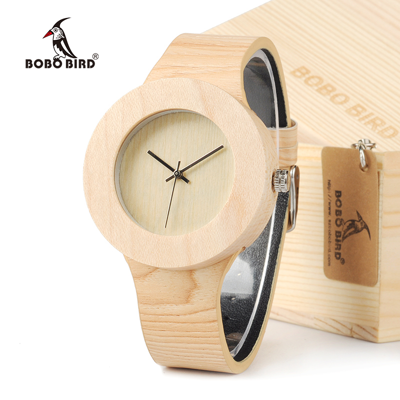 BOBO BIRD Women Wood Bamboo Quartz wristwatches Luxury Brand With Japanese Movement Genuine Leather Watches relogios femininos luxury brand bobo bird men watches wooden quartz wristwatch genuine leather strap relogios masculinos b m14