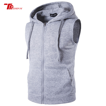Men's Fashion Fleece Plain Fit Hooded Sleeveless Front Zipper Hoody