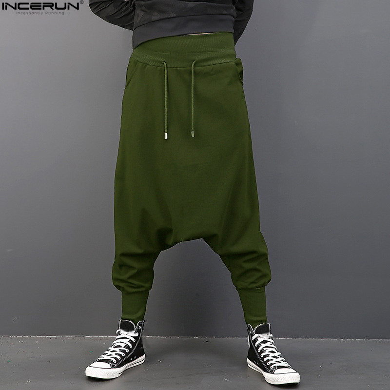 INCERUN Men Casual Solid Harem Hip Hop Pants Joggers Trousers Men Baggy Dancing Pants Gothic Punk Style Harem Pants Plus Size plus size striped harem pants
