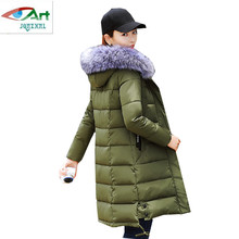 Women Winter Down Jacket 2017 Plus size Hooded Fur collar Warm Cotton-padded Coats High-end Solid color Medium long Ms Outerwear