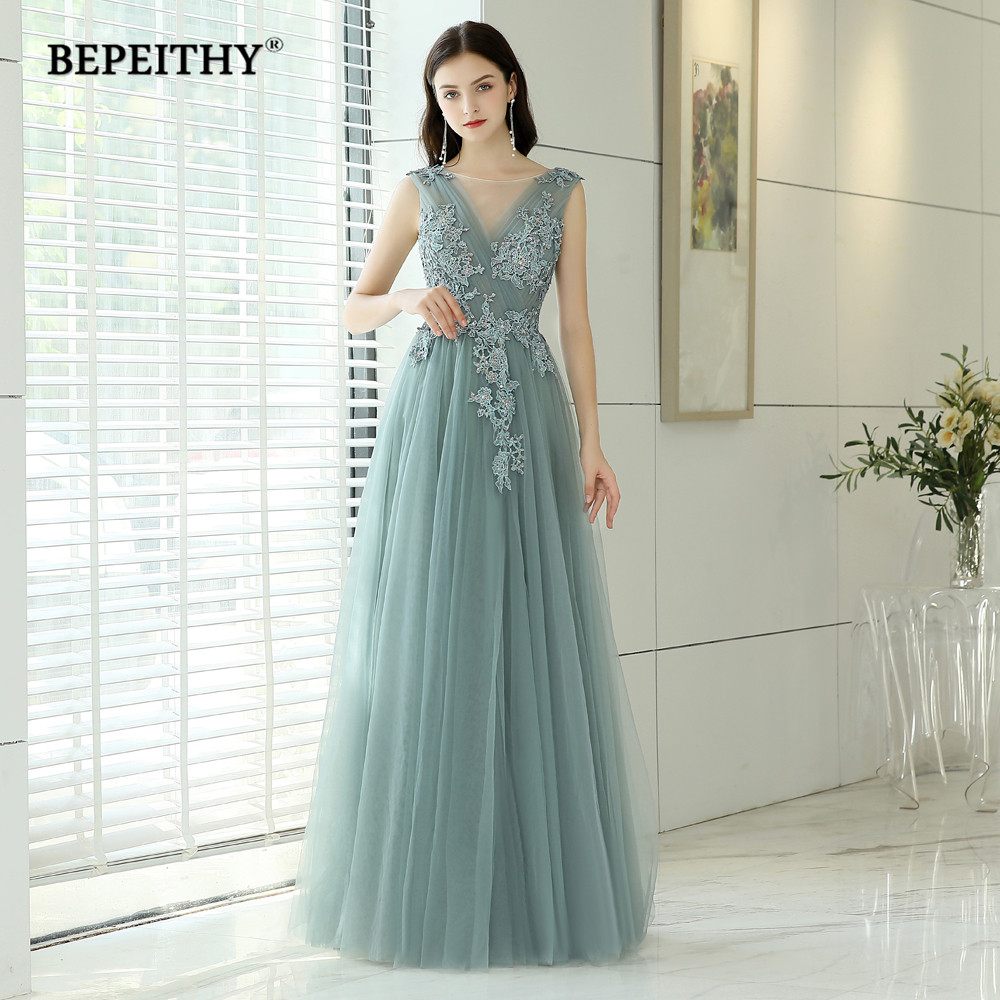 Robe De Soiree Long Evening Dress O Neck With Pleats 2019 New Sexy Backless Prom Dresses