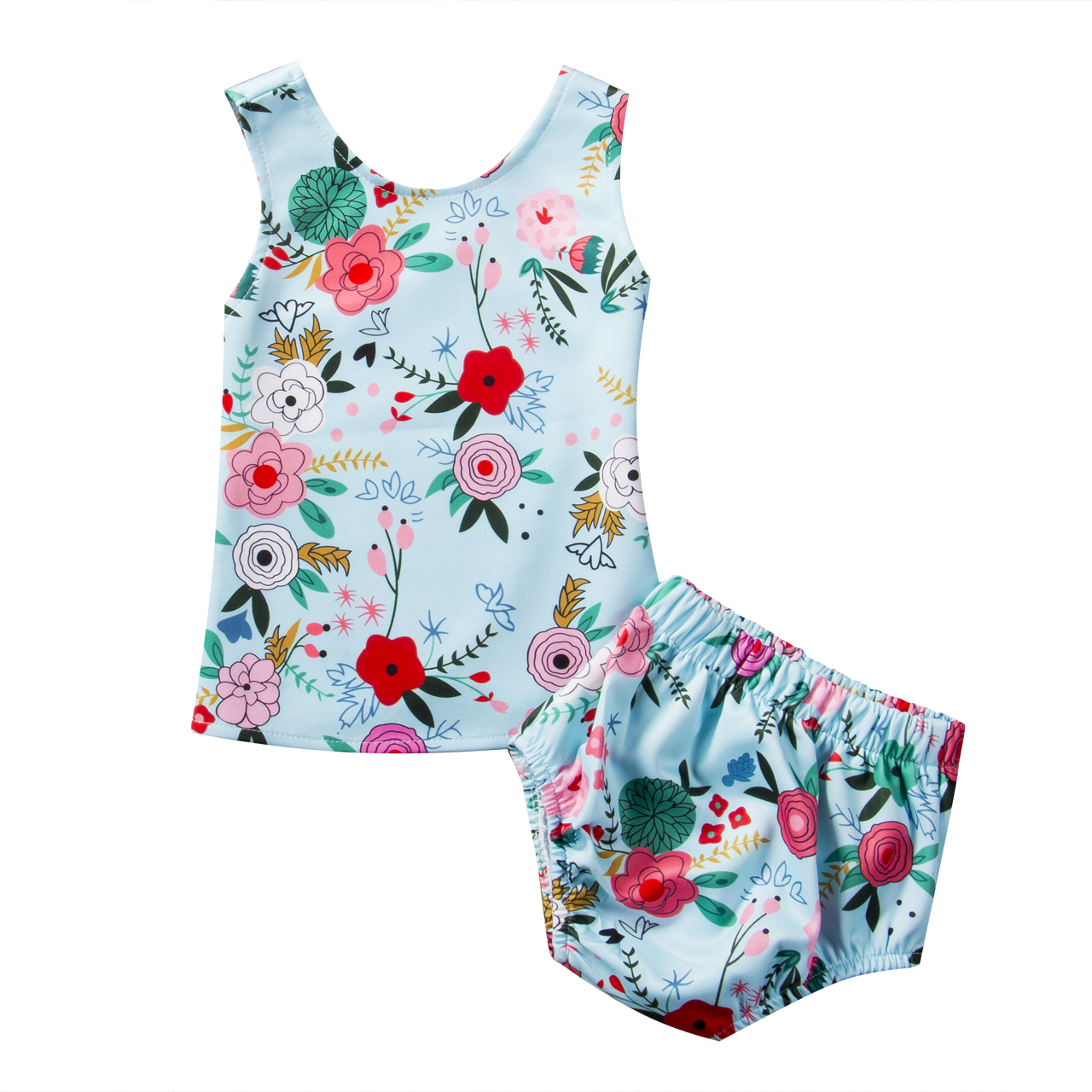 2Pcs Sets Newborn Toddler Baby Girl Clothes Floral Vest T-shirts+Short Pants Bottoms Kids Girls Fashion Summer Cotton Outfits