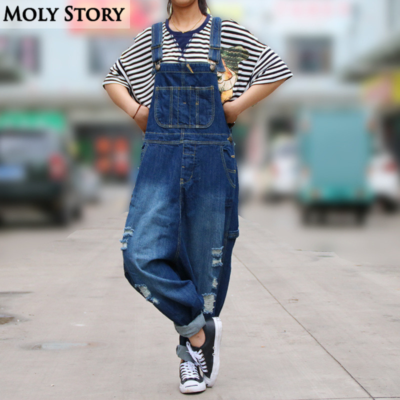 Casual Loose Plus Size Denim Overalls Women Ripped Jean Jumpsuit
