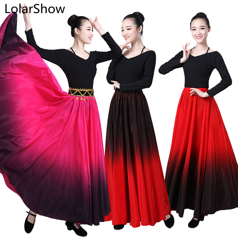 Flamenco Dance Skirt spanish Dancing performance Costume for women vestido flamenco 180/360/540/720Degree
