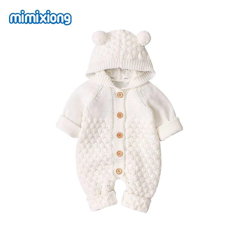 Śpioszki dla niemowląt ubrania dzieci Cartoon niedźwiedź dzianiny Newborn Baby chłopcy kombinezony jesień z długim rękawem maluch dziewczyna sweter dzieci ogólnie zima