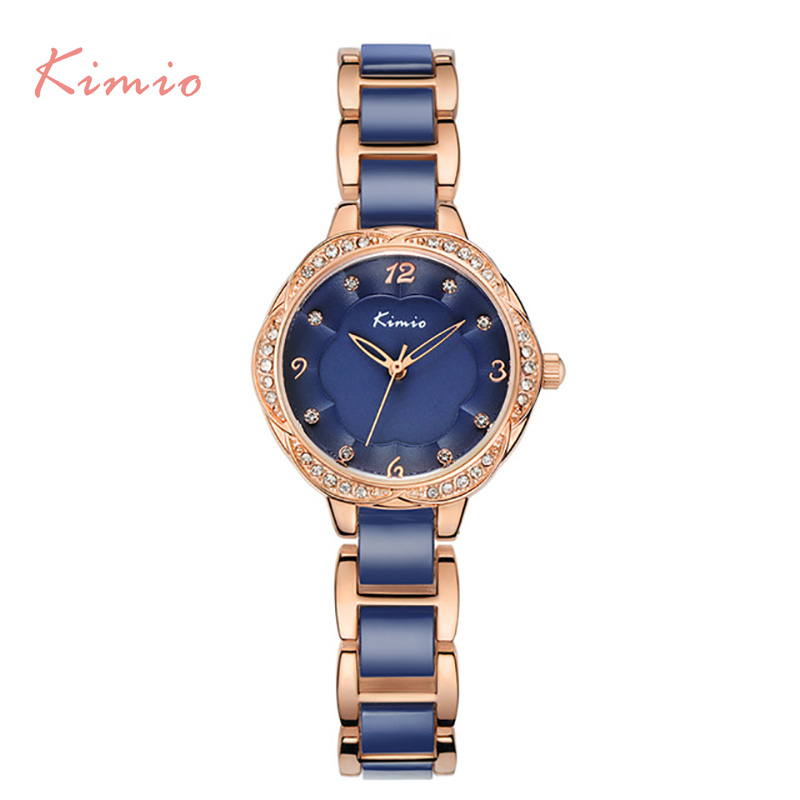 New Kimio fashion luxury Diamond Women's watch quartz watch bracelet watch waterproof stainless steel women watches + gift box